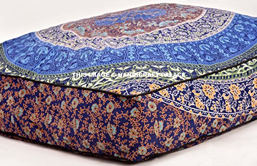 Large 35'' Square Pillow Cover, Decorative Mandala Pillow Sham, Indian Bohemian Ottoman Poufs, Meditation Large Pillow Cases, Outdoor Cushion Cover Urban Mandala Sold by handicraftspalace by Handicraft-Palace