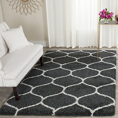 Safavieh Hudson Shag Collection SGH280G Dark Grey and Ivory Moroccan Ogee Plush Area Rug (4' x - Grey Brown With