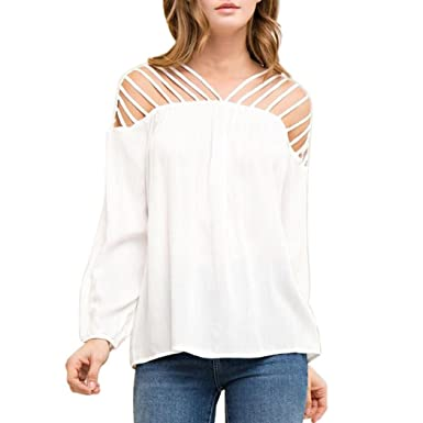 20ddedfc112d Sixcup Summer Spring Hollow Design Fashion Womens Solid Chiffon Long Sleeve  T-Shirt Casual Blouse Loose Tops (White