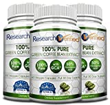 Green Coffee Bean Extract - Three Month Supply - 100% Pure by Research Verified - 50% Chlorogenic Acid - 365 Day 100% Money Back Guarantee - Try Risk Free for Fast and Easy Weight Loss