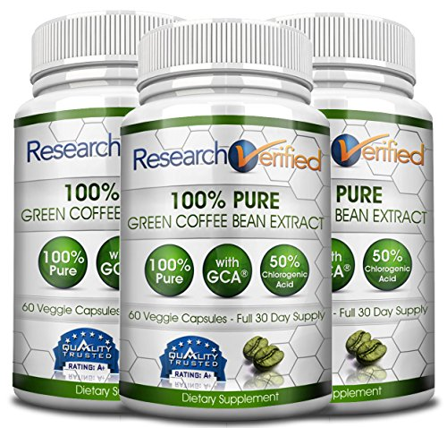 Green Coffee Bean Extract - Three Month Supply - 100% Pure by Research Verified - 50% Chlorogenic Acid - 365 Day 100% Money Back Guarantee - Try Risk Free for Fast and Easy Weight Loss by Research Verified