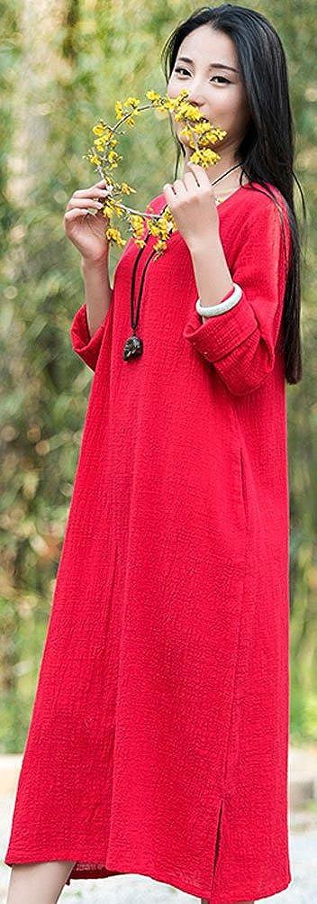 337a426dcf Soojun Women s Essential Cotton Linen Long Sleeve Split Hem Baggy Maxi  Dresses at Amazon Women s Clothing store