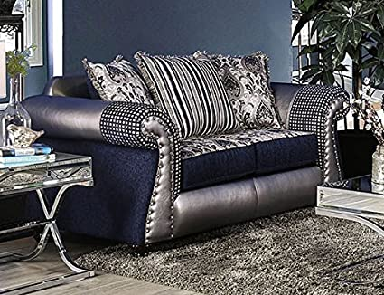 Amazon.com: Katarina Navy/Silver Chenille Loveseat by ...