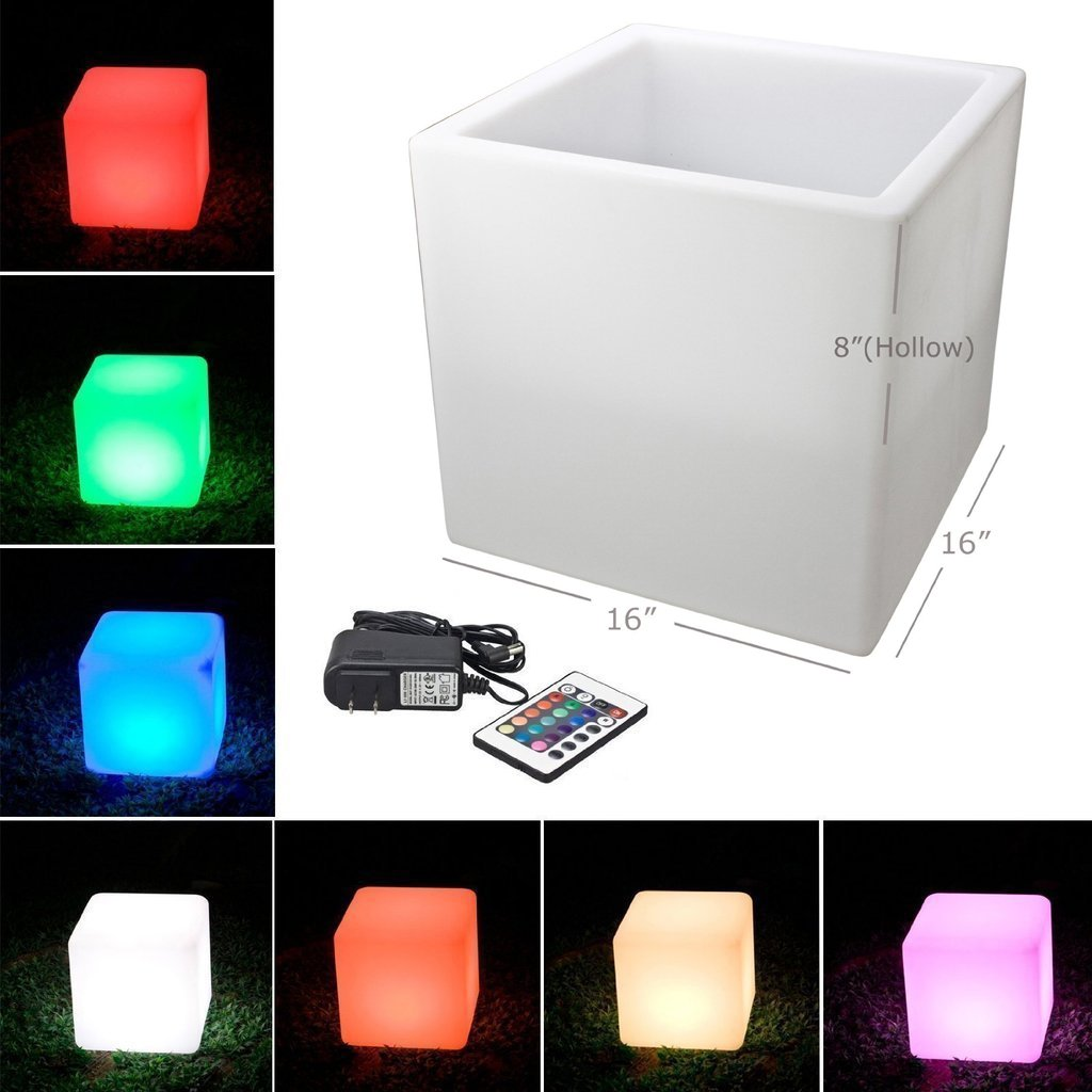 Mr.Go Outdoor/Indoor Rechargeable LED Light SEMI-STORAGE CUBE 16'', Cordless with Remote Control RGB Color Changing Glowing Furniture Cabinet Container End Table Ice Bucket Flower Pot Planter