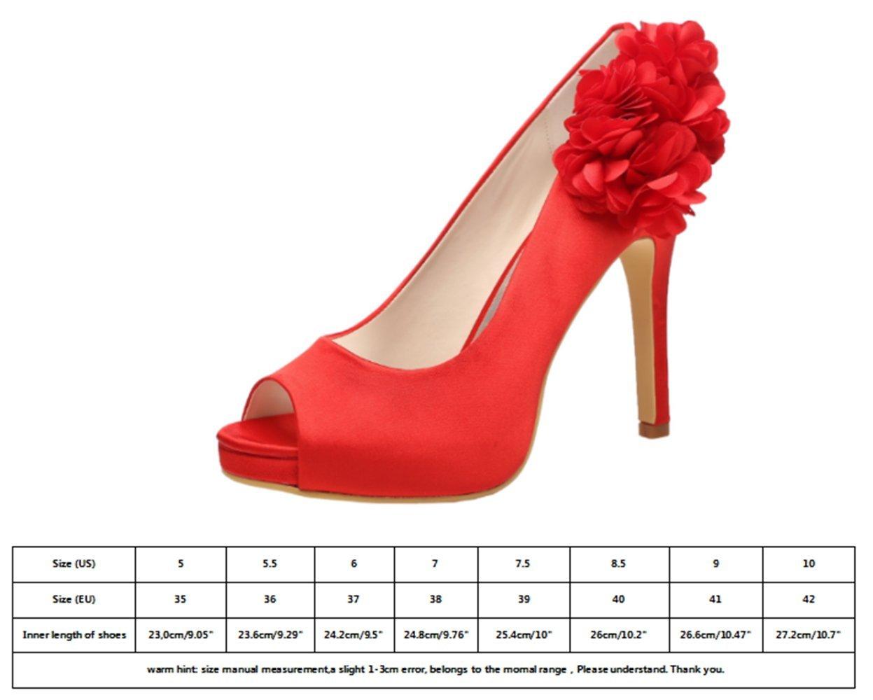 M MULGARIA Women High Heel Pumps Platform Peep Toe Flowers Satin Evening Prom Wedding Shoes B0791DRZXX EU 40/8.5B(M)US|Red