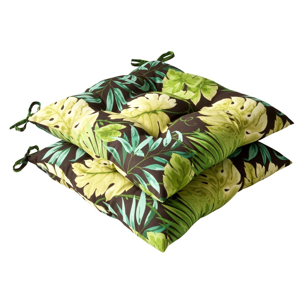 Pillow Perfect Indoor Outdoor Tropical Tufted Seat Cushion, Green Brown