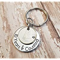 10th Anniversary Ten Years & Counting 2008 Ten Cent Piece with Aluminum Key Chain Gift for Her or Him