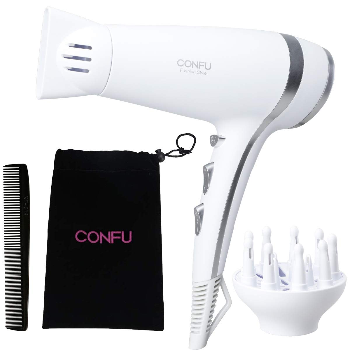 Lightweight Professional Ionic Hair Dryer CONFU 1875W Fast Drying Quiet Blow Dryer with 2 Speed 3 Heat Cool Setting Nozzle Diffuser Hairdryers Bag ETL Certified White by CONFU