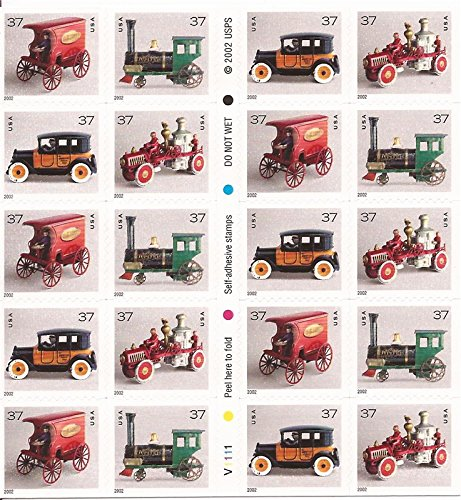 Antique Toys Stamps - US Stamp - 2002 Antique Toys - Booklet Pane of 20 Stamps #3645e