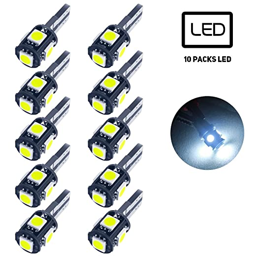 T10 LED coche luces, [10 pcs] LED luz bombilla 5050 LED W5 W