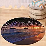 VROSELV Custom carpetHawaiian Decorations Collection Pacific Sunrise At Lanikai Beach Hawaii Sandy Tropics Distant Hills Leaves Landmark Bedroom Living Room Dorm Round 79 inches