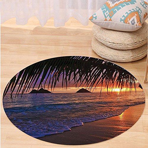 VROSELV Custom carpetHawaiian Decorations Collection Pacific Sunrise At Lanikai Beach Hawaii Sandy Tropics Distant Hills Leaves Landmark Bedroom Living Room Dorm Round 79 inches by VROSELV