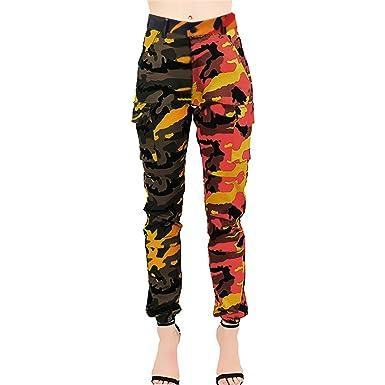 0b79d872af0cc6 Bravetoshop Women Camouflage Harem Pants Camo Cargo Spliced Loose Button  Trouser Without Belt(Orange,