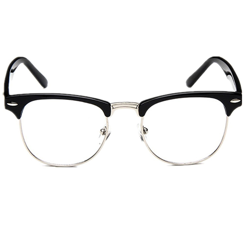 Feirsh Unisex Hipster Vintage Retro Classic Half Frame Glasses Clear Lens Nerd Eyewear