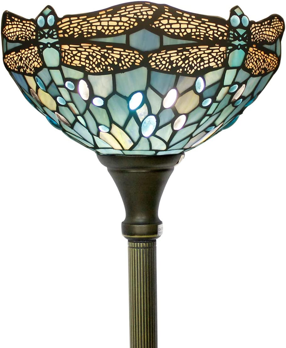 Tiffany Style Torchiere Light Floor Standing Lamp Wide 12 Tall 66 Inch Sea Blue Stained Glass Crystal Bead Dragonfly Lampshade for Living Room Bedroom Antique Table S147 WERFACTORY