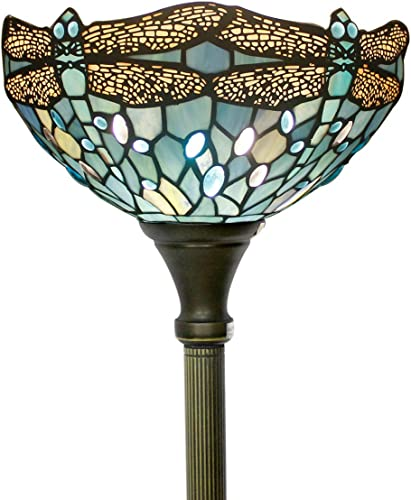 Tiffany Floor Lamp Torchiere Up Lighting W12H66 Sea Blue Stained Glass Crystal Bead Dragonfly Shade Antique Standing Iron Base 1E26 Foot Switch S147 WERFACTORY Lamps Home Office Decoration Gift