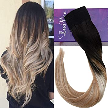 Laavoo 14 Secret String Fish Weaving Hair Straight Hair Extension Human Hair Color Off Black To Golden Brown With Platinum Blonde Flip On 100 Real
