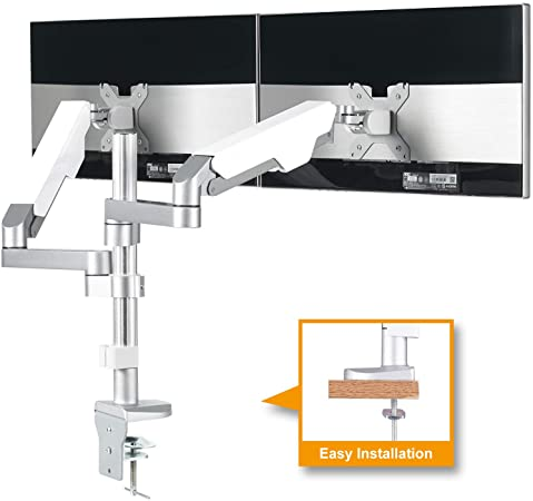 FEZIBO Dual Monitor Mount Stand - Premium Aluminum Articulating Full Motion Computer VESA Monitor Arm with Gas Spring, Heavy Duty Holds 2 Screens 17 to 32 inches, up to 19.8 lbs Each