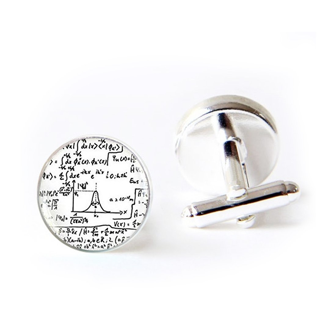 Unique Round Cufflinks Set Quantum Physics Mathematical Formulas Glass Cuff Dress Shirt Links Wedding Business Anniversary Gift for Him LAROK WAZZIT KF-LSZBS-0944