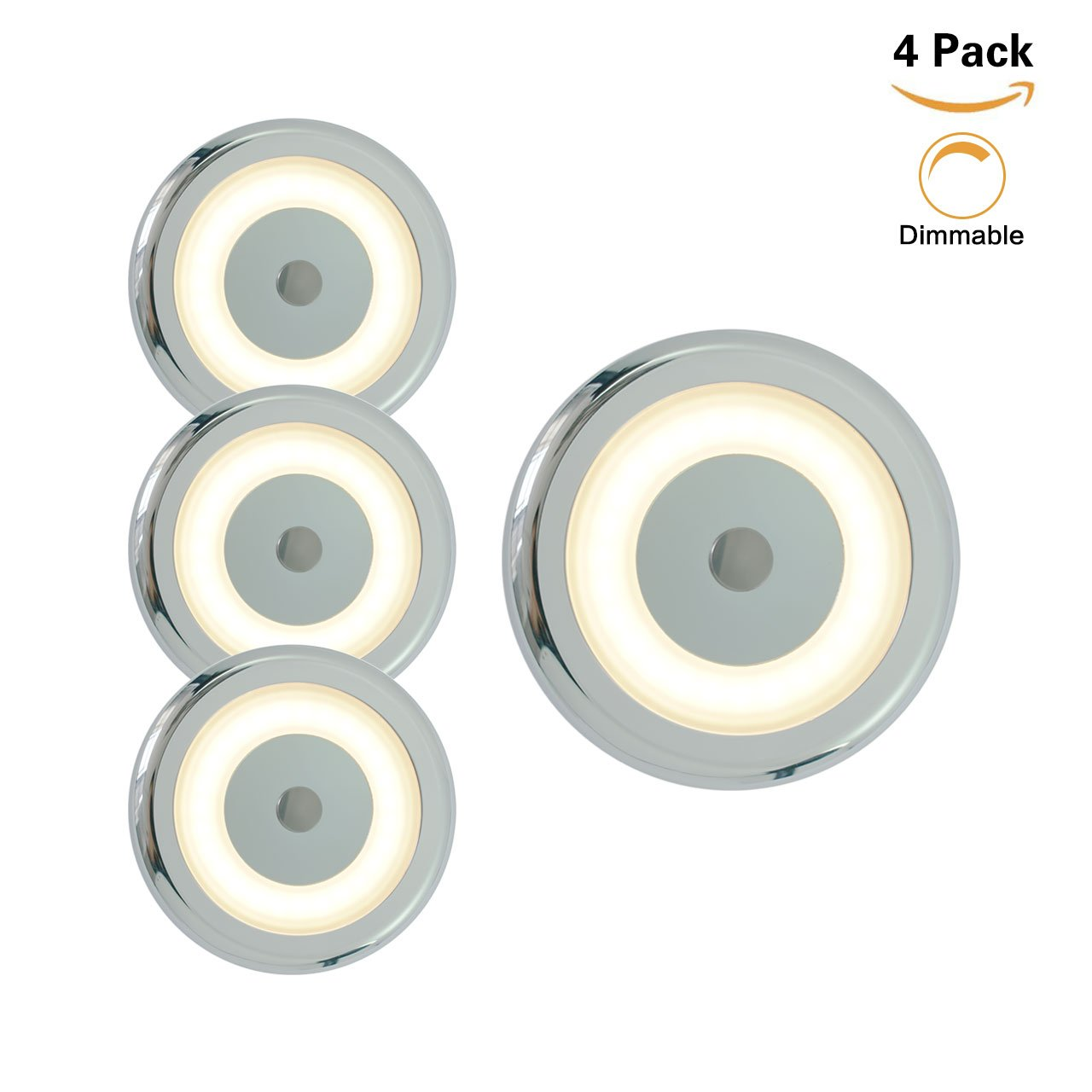 12V RV LED Touch Boat Ceiling Light - 3W Dimmer 2800K Soft White Memory Marine Lamp Annular Frosted Lens Stepless Dimmable, Surface Mount, Hidden Fastener Design, Stainless Steel Screw, Pack of 6 Genuine Marine
