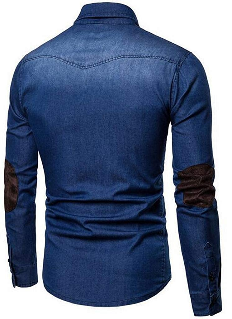 Fubotevic Mens Long Sleeve Denim Color Block Slim Button Up Dress Work Shirt