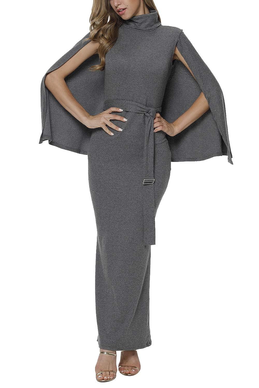 5b89484b091 Meenew Women s Cape Split Sheath Slim Fit Cape Long Evening Dress Grey XL  at Amazon Women s Clothing store