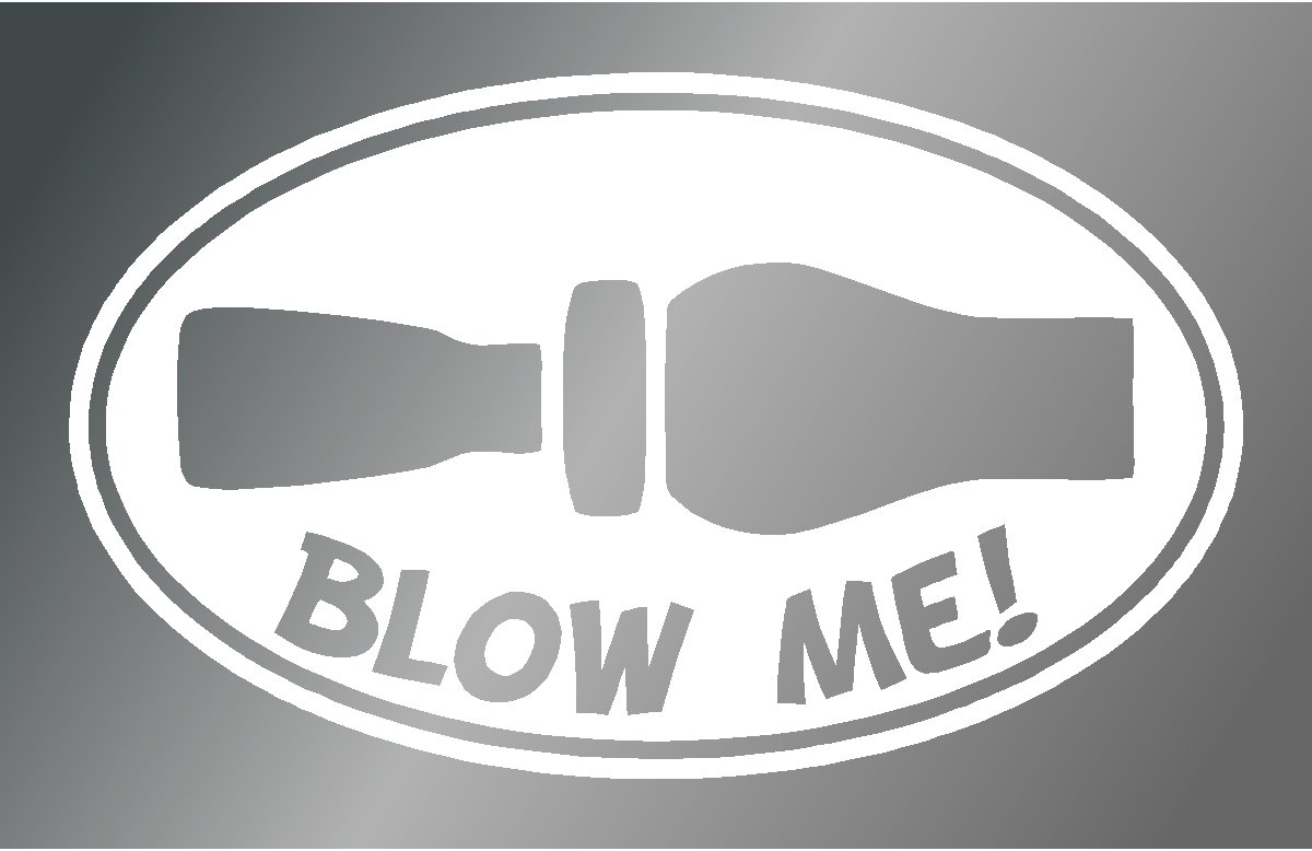 Sassy Stickers Blow Me Duck Hunting Whistle Oval Sticker White