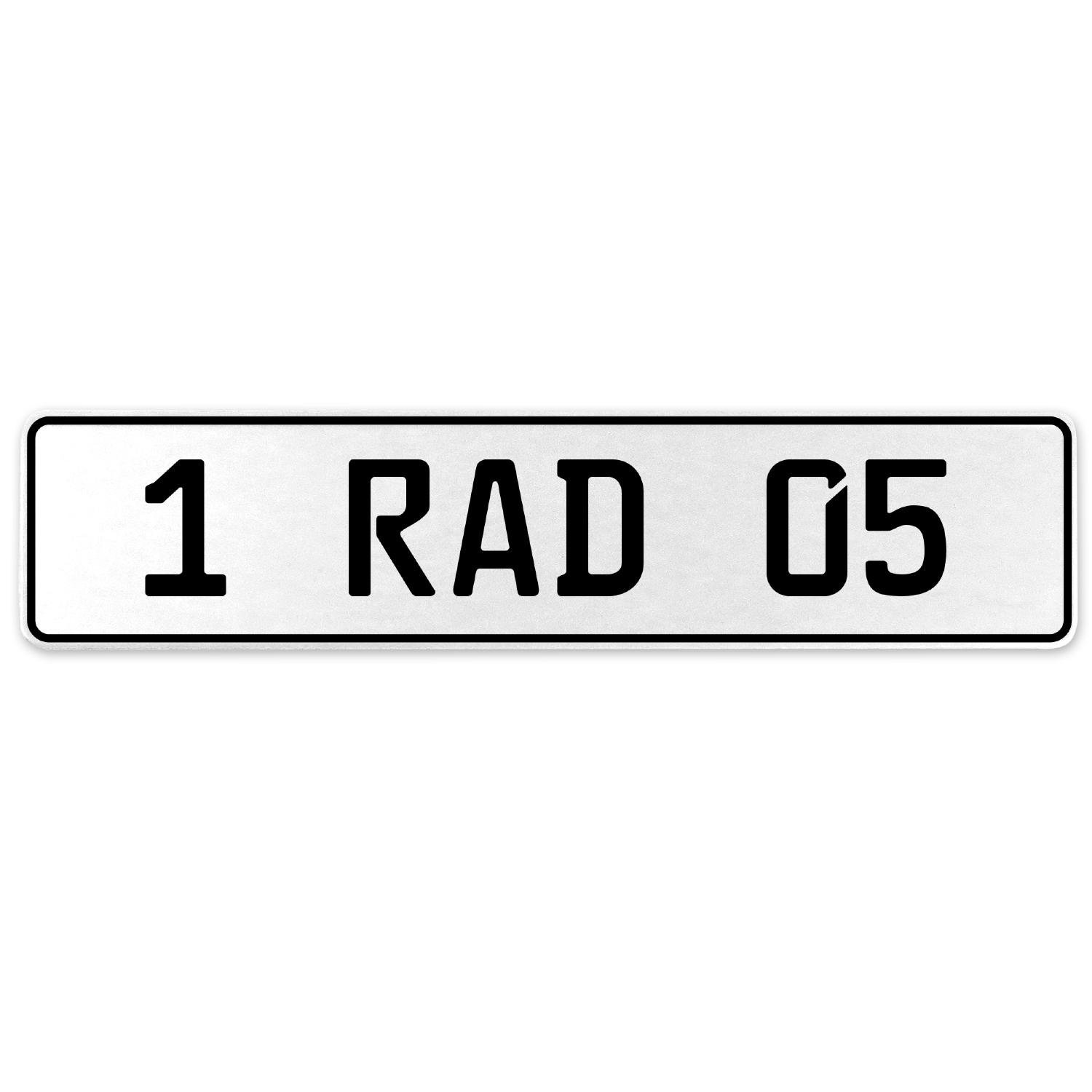 Vintage Parts 554008 1 RAD 05 White Stamped Aluminum European License Plate