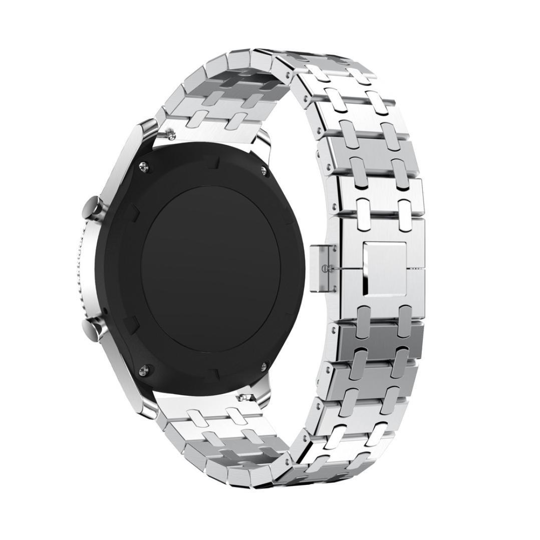 junshionバンドfor Samsung Gear s3クラシック交換バンド22 mm純正ステンレススチールクールデザイン腕時計ブレスレットバンドストラップ  シルバー B07F86RV9W