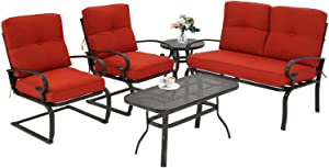 Patiomore 5 Pcs Outdoor Patio Furniture Conversation Sets, Loveseat and Coffee Table, Bistro Table and 2 Spring Chairs with Cushions (Red)