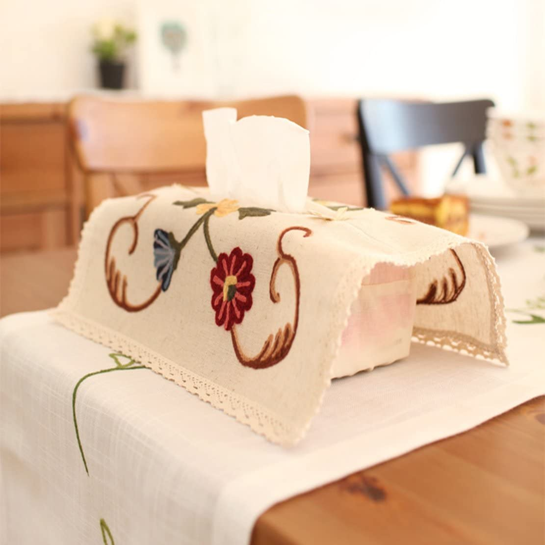TaroHome Flowers Embroidered Linen Cotton Tissue Box Cover