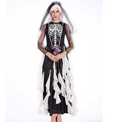 Cosfun Damen Vampir Halloween Kostüm Königinkleid Ghost Braut Kleid