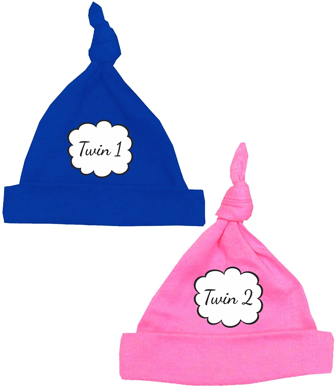 BabyPrem Premature Baby Knotted Hats (Pack of 2) Twin 1 Twin 2 TW005TT
