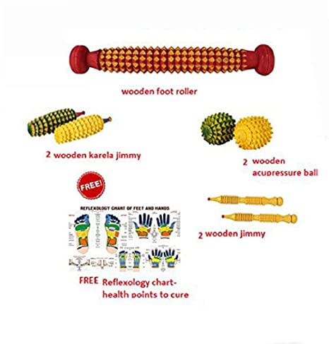 Cure18 Huge Combo Pack of 8 Item |One Wooden foot roller| Two Wooden Karela  Jimmy|Two Wooden Acupressure ball| Two Wooden Jimmy|Reflexology chart of