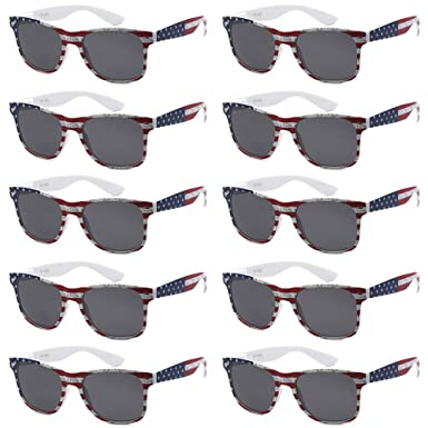 785edc89cd5 WHOLESALE UNISEX 80 S RETRO STYLE BULK LOT PROMOTIONAL SUNGLASSES - 10 PACK  (American Flag