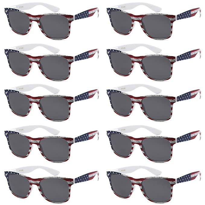 WHOLESALE UNISEX 80S RETRO STYLE BULK LOT PROMOTIONAL SUNGLASSES - 10 PACK