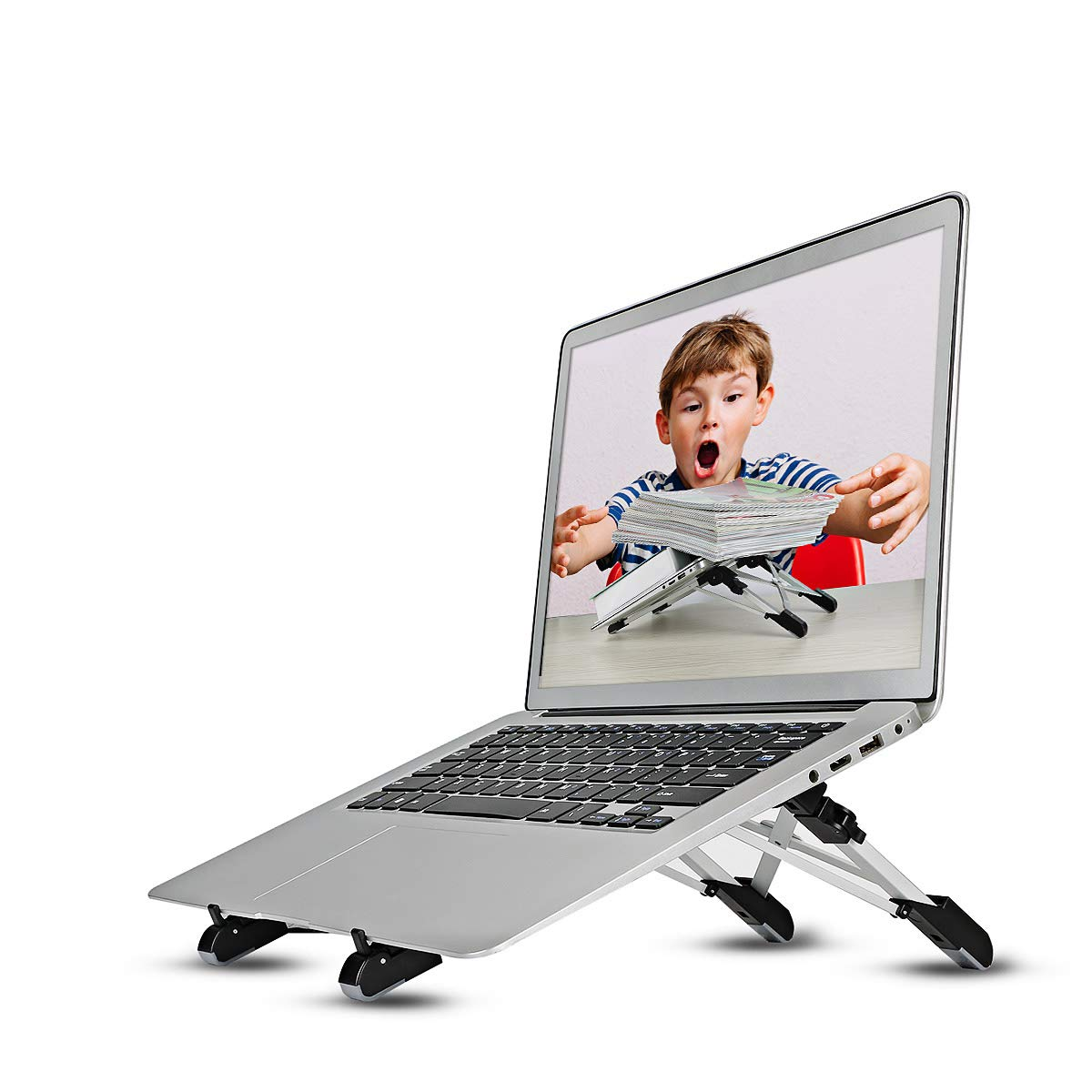 Laptop Stand Adjustable Tablet Stand Ergonomic Folding Laptop Stand Holder Lightweight Space-saving Cooling Gaming Riser Compatible for 8