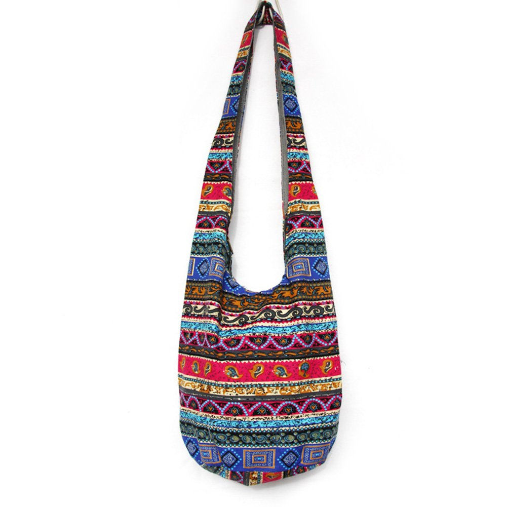 KARRESLY Bohemian Cotton Hippie Crossbody Bag Hobo Sling Bag Handmade Messenger Shoulder Bags(8-268)