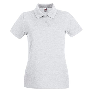 045de485 Fruit of the Loom Lady-fit Premium Polo T-Shirt Side Vents Short Sleeve  100% Cotton: Amazon.co.uk: Clothing