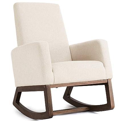 Amazon Com Giantex Upholstered Rocking Chair Modern High Back