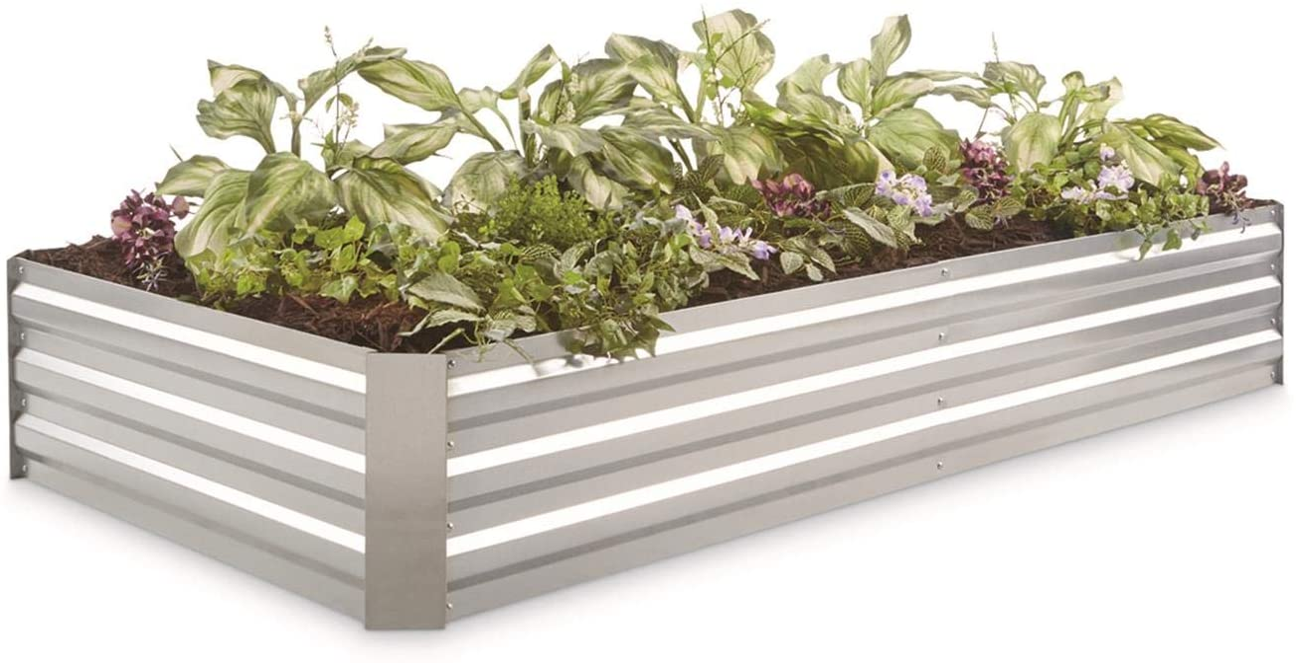 CASTLECREEK Large Galvanized Steel Raised Garden Bed Planter Box, Outdoor Flowers, Herbs, Vegetable Planting Boxes, 72