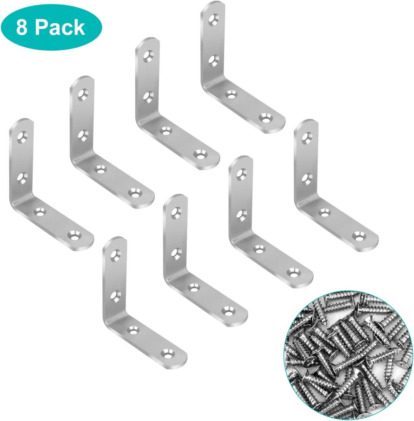 Stainless Steel 90° Right Brace Corner Joint Angle Bracket Bed Cabinet Fastener