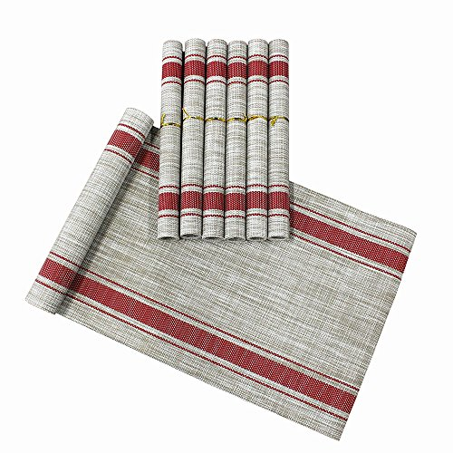 Lavin Placemat Set of 6 and Table Runner Set Waterproof Place Mat Heat-resistant Tablerunner for Dining Table Kitchen Decoration PVC Vinyl Satin Resistant Washable Heavy Duty Placemats (Red)