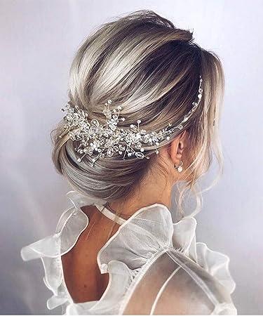 Amazon Com Denifery Crystal Bridal Hair Piece Bridal Hair Accessories Bridal Hair Comb Wedding Headpiece Wedding Hair Piece Wedding Hair Accessories Rose Gold Beauty