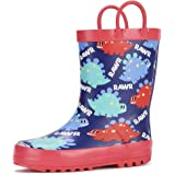 Knodel Rain Boots for Kids, Waterproof Rubber Boots with Easy-On Handles for Boys and Girls, Rubber Printed Patterns…