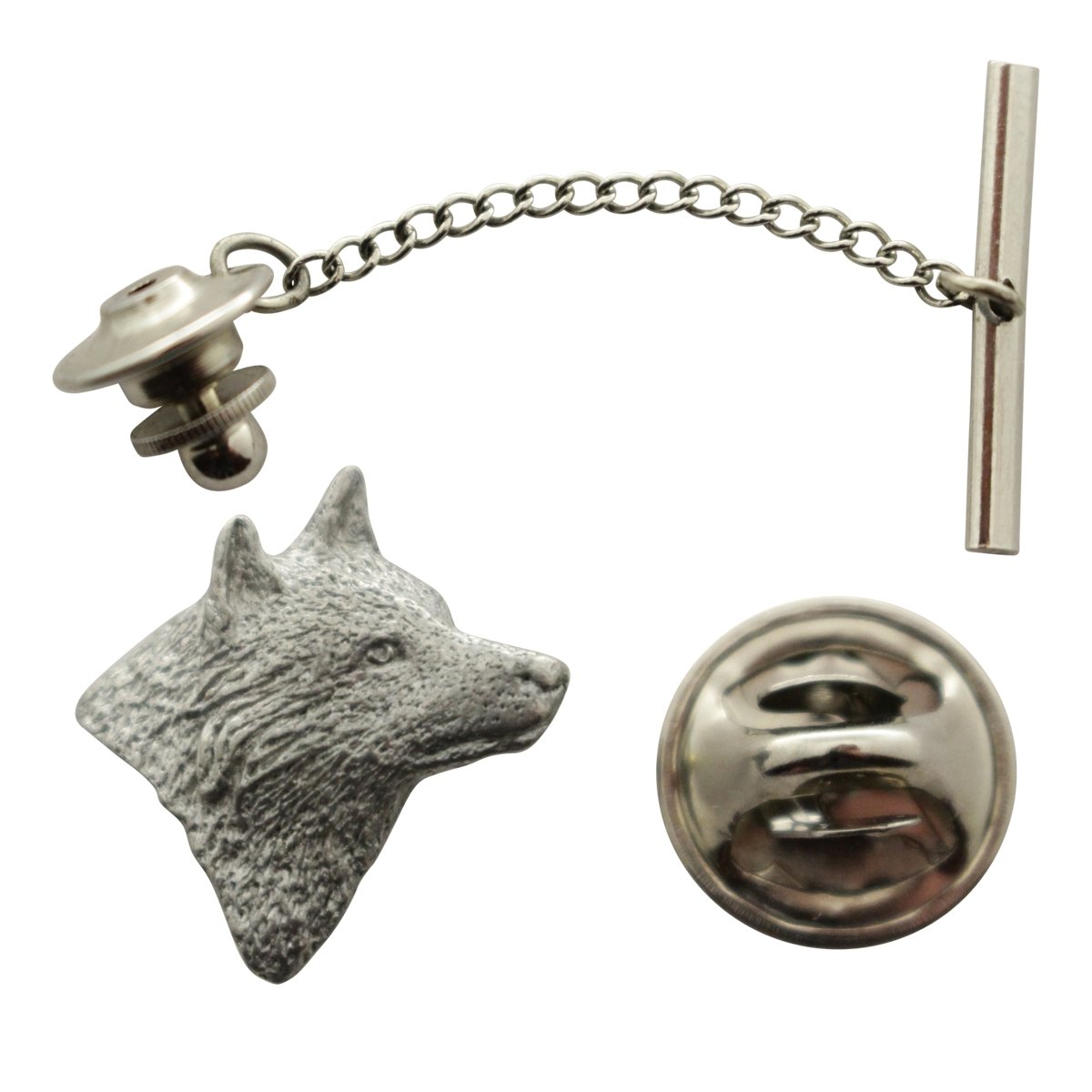 Wolf Head Tie Tack ~ Antiqued Pewter ~ Tie Tack or Pin ~ Sarah's Treats & Treasures