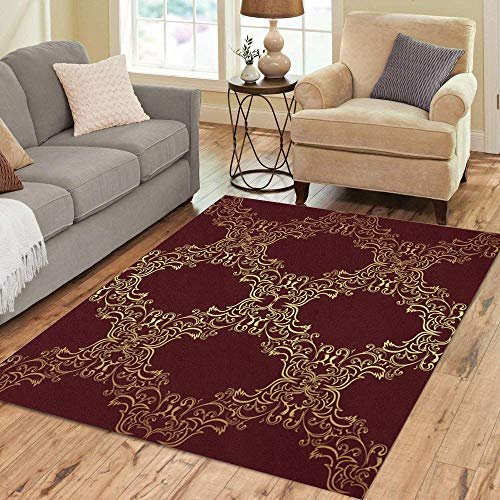 Semtomn Area Rug 3' X 5' Flower Damask Gold on Red Raster Pattern Antique Classy Home Decor Collection Floor Rugs Carpet for Living Room Bedroom Dining Room