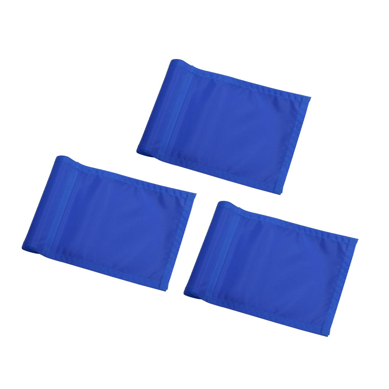 KINGTOP Solid Golf Flag with Plastic Insert, Putting Green Flags for Yard, Indoor/Outdoor, Garden Pin Flags, 420D Premium Nylon Flag, 8'' L x 6'' H, Blue, 3-Pack by KINGTOP