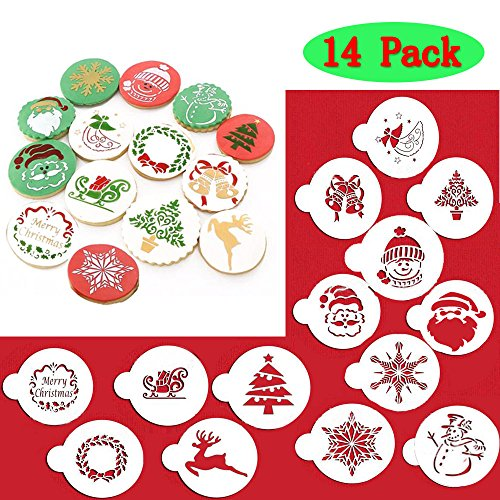 (14 Pieces)Christmas Cookie Stencil, Cookie Decoration Tools,Food Decorating Stencils for Cookies,Cupcake and Fondant