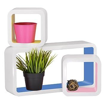 Tanburo 3er Set Wandregal Cube Regal Retro Wandregal Bucherregal